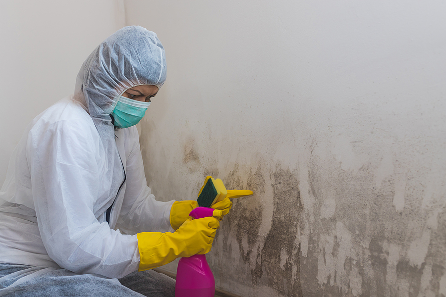 girl wearing protective suit is cleaning the dirty wall